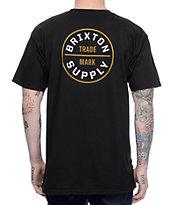 Brixton Oath camiseta en blanco, negro y color oro