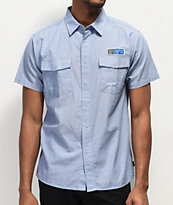 Brixton x Independent Officer Light Blue Short Sleeve Button Up Shirt