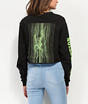 By Samii Ryan Love Potion Black & Neon Green Long Sleeve Crop T-Shirt