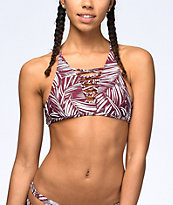 Byrds of Paradise Palm Lace Up Burgundy Halter Bikini Top