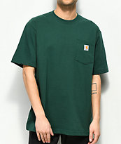 Carhartt Workwear camiseta verde con bolsillo