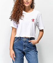 Casual Industrees x Rainier R Embroidery White Crop T-Shirt