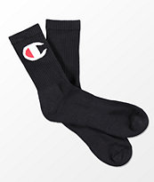 Champion Big C Black Crew Socks