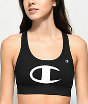 Champion C Logo Black Sports Bra