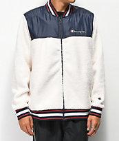 Champion Cream Sherpa Baseball Jacket