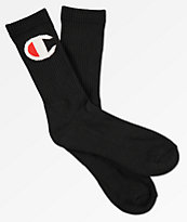Champion Embroidered Black Crew Socks