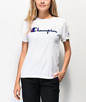 Champion OG Direct Flock Script White T-Shirt