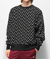 Champion Reverse Weave All Over Print Black Crew Neck Sweatshirt