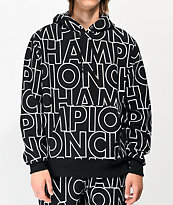 Champion Reverse Weave Allover Block Text Black Hoodie