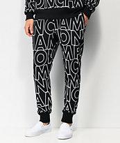 Champion Reverse Weave Allover Block Text Black Jogger Sweatpants