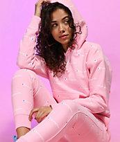 Champion Reverse Weave Allover Logo Pink Hoodie