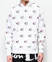 Champion Reverse Weave Allover Print C White Hoodie