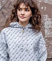 Champion Reverse Weave Allover Script Grey Hoodie