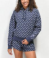 Champion Reverse Weave Allover Script Navy Hoodie