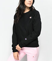 Champion Reverse Weave Black Crew Neck Sweatshirt