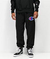 Champion Reverse Weave Chain Stitched C Logo Black Jogger Pants