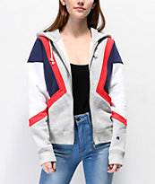 Champion Reverse Weave Colorblock White, Grey, Red & Blue Zip Up Hoodie