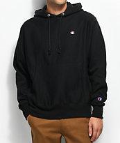 Champion Reverse Weave Small Logo Black Hoodie