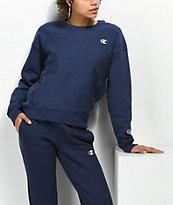Champion Reverse Weave sudadera azul marino con cuello redondo