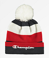 Champion Script Burgundy Stripe Pom Beanie