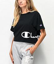 Champion Wrap Script Black Crop T-Shirt