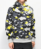 Champion Yellow, Grey & Black Camo Super Fleece Hoodie