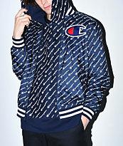 Champion chaqueta de béisbol de satén azul marino