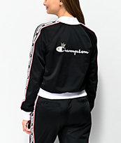 Champion chaqueta de chándal negra y blanca con cinta
