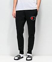 Champion pantalones deportivos en negro con aplique de chenilla