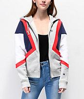 Champion sudadera con capucha de tejido inverso blanco, gris, rojo y azul