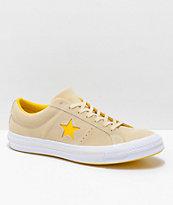 Converse One Star Pinstripe zapatos de skate en color crema y amarillo