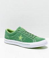 Converse One Star Pinstripe zapatos de skate en color verde menta, jade lima, y blanco