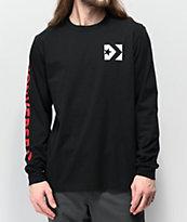Converse Wordmark Black & Red Long Sleeve T-Shirt