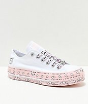 Converse x Miley Cyrus Lift White & Pink Bandana Shoes