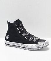 Converse x Miley Cyrus zapatos negros de perfil alto con estampado de cachemir