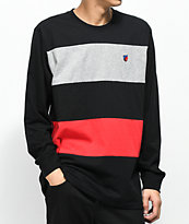 Cookies Carrera Pieced Black, Grey & Red Long Sleeve T-Shirt