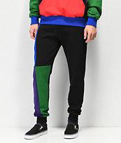 Cross Colours Blue, Green & Purple Colorblock Jogger Sweatpants