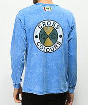 Cross Colours Logo Blue Acid Wash Long Sleeve T-Shirt