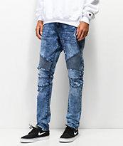 Crysp Skywalker Blue Wash Moto Jeans