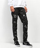 Crysp Stark jeans negros con salpicadura de pintura