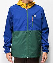 DC Dagup chaqueta cortavientos azul, verde y amarillo