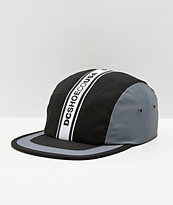 DC Overdraft Logo Taped Black & Grey Five Panel Hat