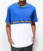 DC Walkley Colorblock White & Blue Knit T-Shirt