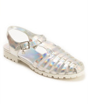 DV8 Dantri Silver Iridescent Jelly Sandals