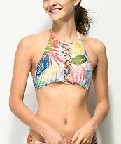 Damsel Fawn Tropical High Neck Halter Bikini Top