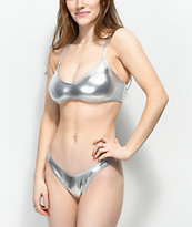 Damsel Metallic Silver High Cut Super Cheeky Bikini Bottoms