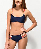 Damsel Strappy Red, White, & Navy Blue Cheeky Bikini Bottom