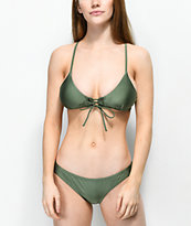 Damsel braguitas de bikini de color oliva brillante