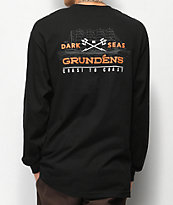 Dark Seas x Grundens Surf Waves Black Long Sleeve T-Shirt