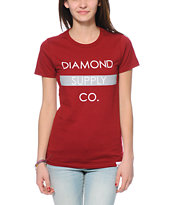 Diamond Supply Co. Bar Logo Dark Red T-Shirt